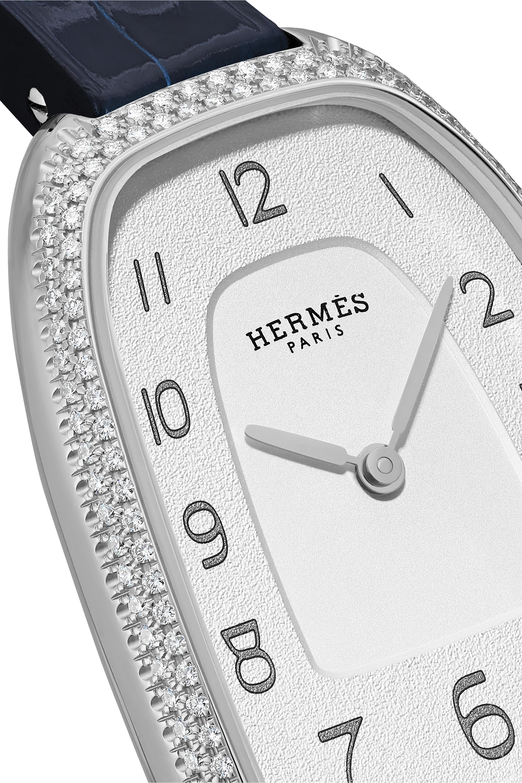 Hermès Timepieces Galop d'Hermès 26 mm mittelgroße Uhr aus Edelstahl mit Diamanten und Alligatorlederarmband