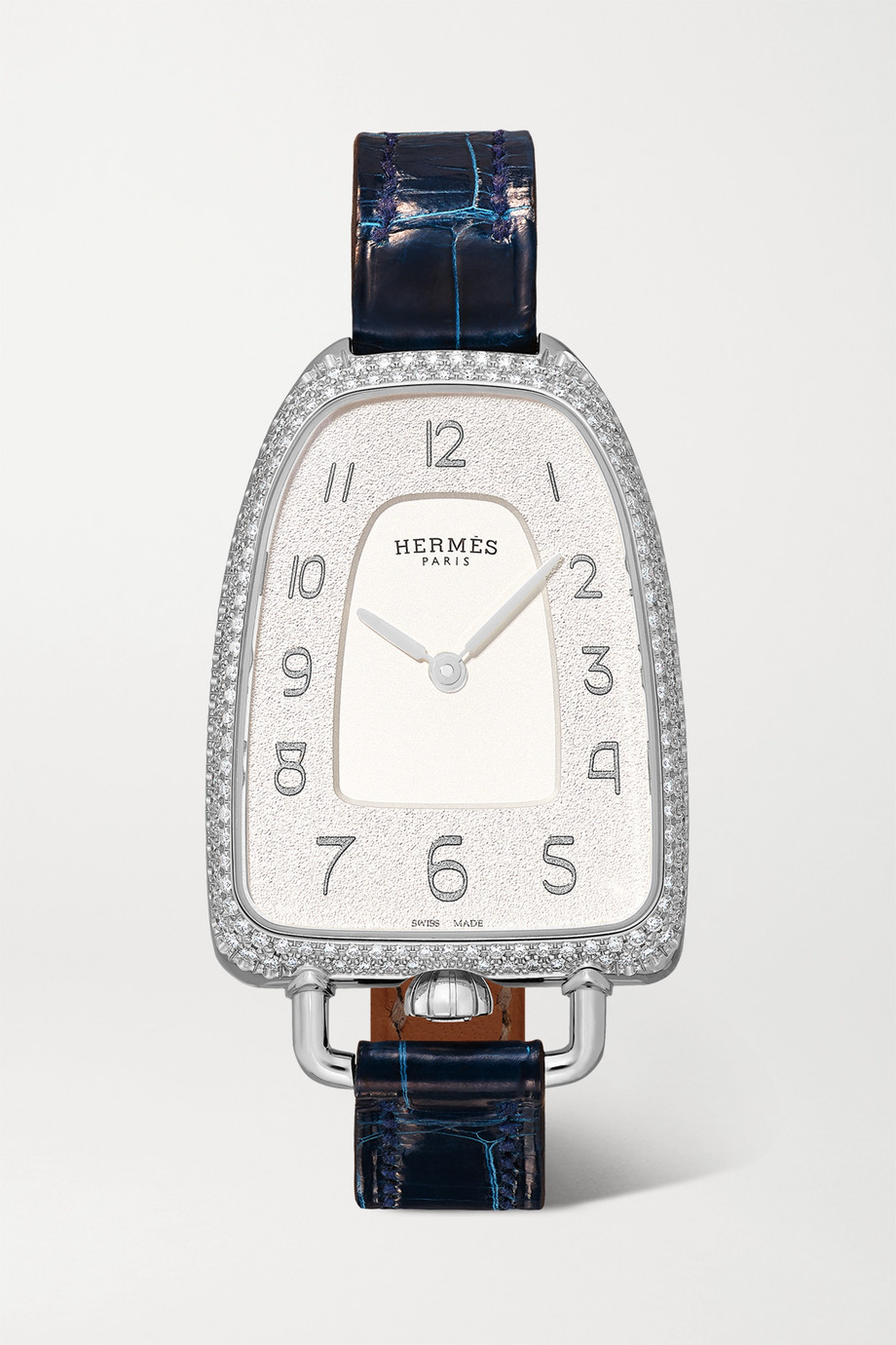 Hermès Timepieces Galop d'Hermès 26mm medium stainless steel, alligator and diamond watch