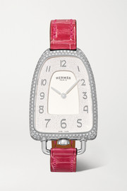 Galop d'Hermès 26mm medium stainless steel, alligator and diamond watch