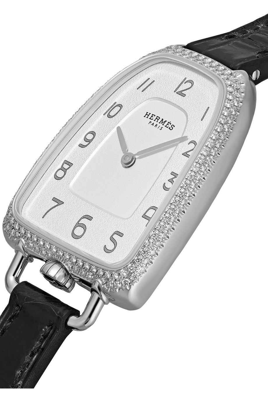 Hermès Timepieces Montre en acier inoxydable et diamants à bracelet en alligator Galop d'Hermès Medium 26 mm