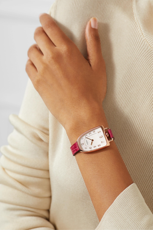 Hermès Timepieces Galop d'Hermès 26 mm mittelgroße Uhr aus 18 Karat Roségold mit Alligatorlederarmband