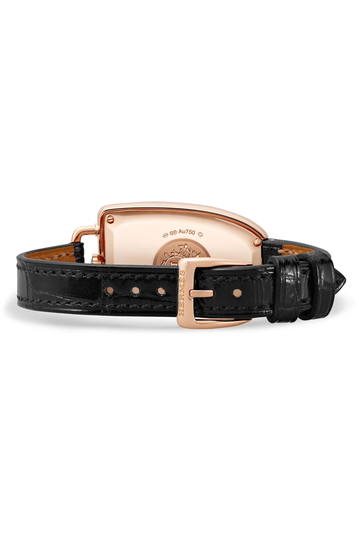 Hermès Timepieces Galop d'Hermès 26mm medium 18-karat rose gold, alligator and diamond watch