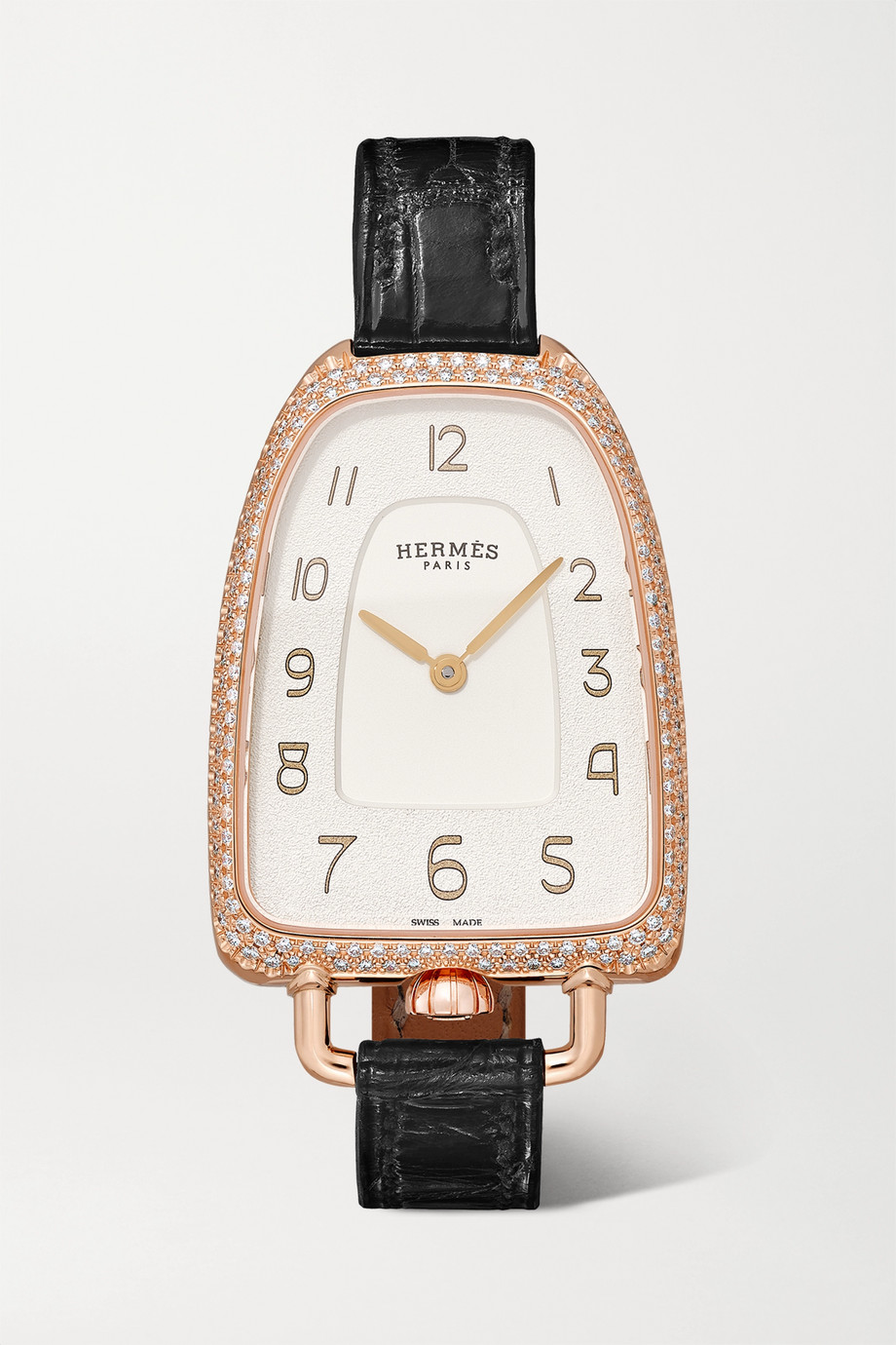 Hermès Timepieces Galop d'Hermès 26mm medium 18-karat rose gold, alligator and diamond watch
