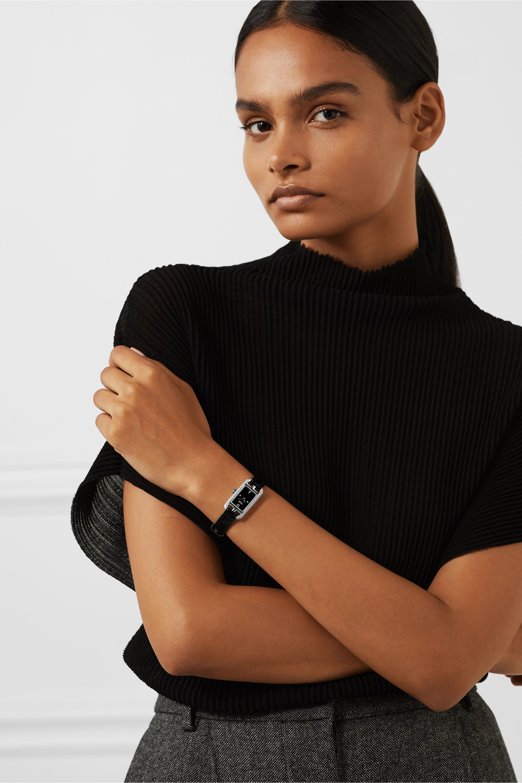 Hermès Timepieces Nantucket 17 毫米钻石精钢超小号腕表(短吻鳄鱼皮表带)