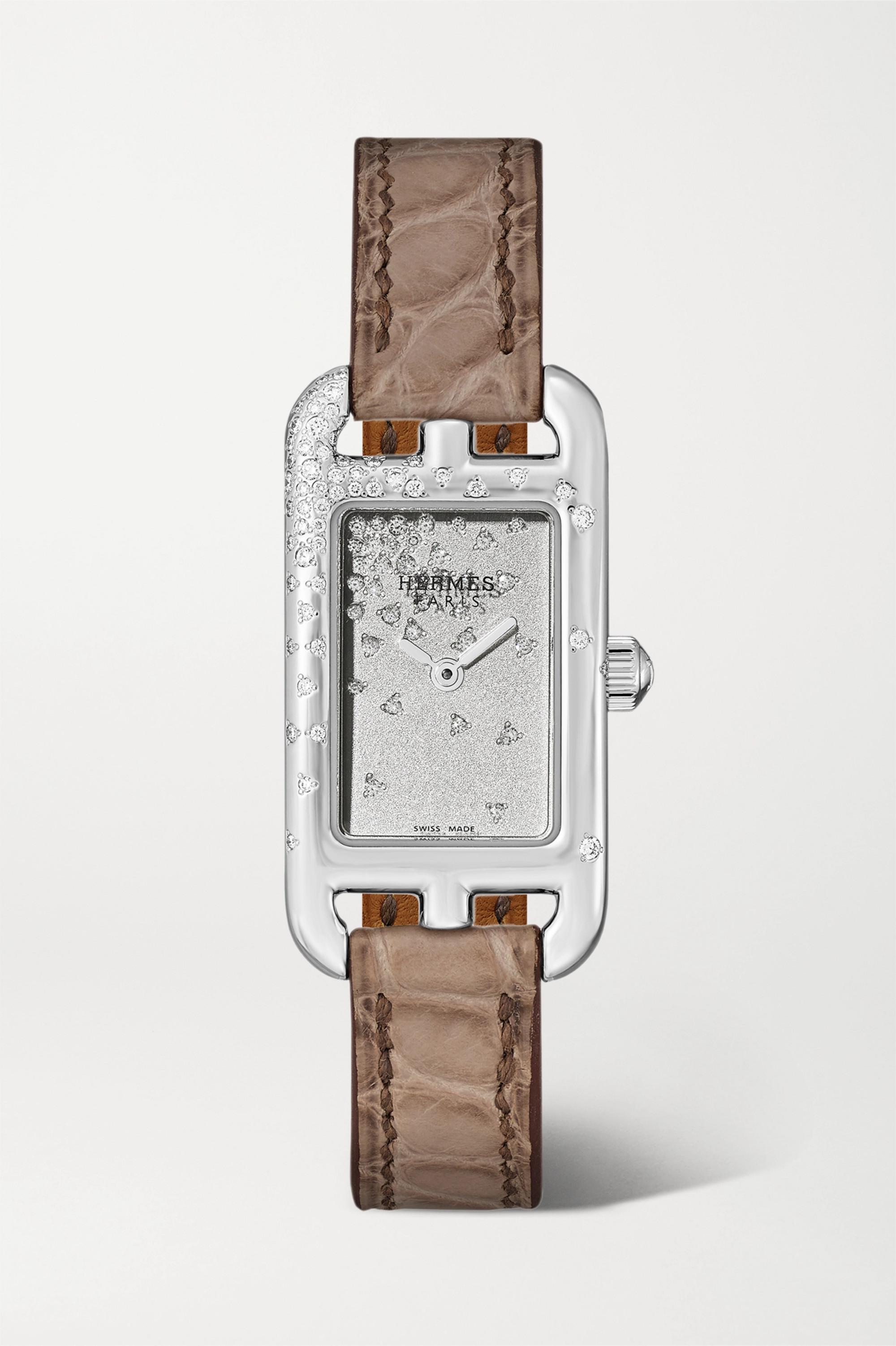 Hermès Timepieces Nantucket Jeté de Diamants 17 毫米钻石精钢超小号腕表(短吻鳄鱼皮表带)