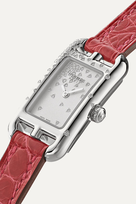 Hermès Timepieces Nantucket Jeté de Diamants 17mm very small stainless steel, alligator and diamond watch