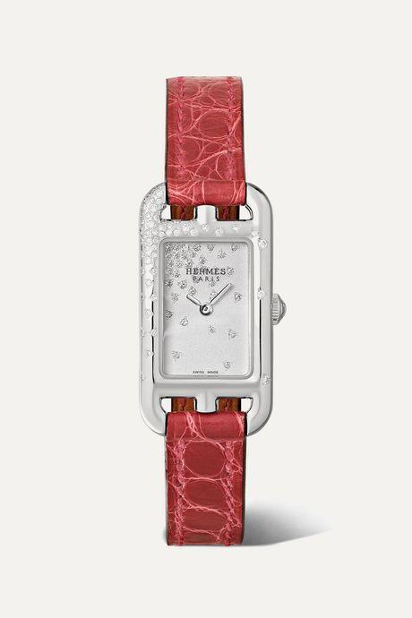 Silver Nantucket Jeté de Diamants 17mm very small stainless steel, alligator and diamond watch | Hermès Timepieces eXRQSo