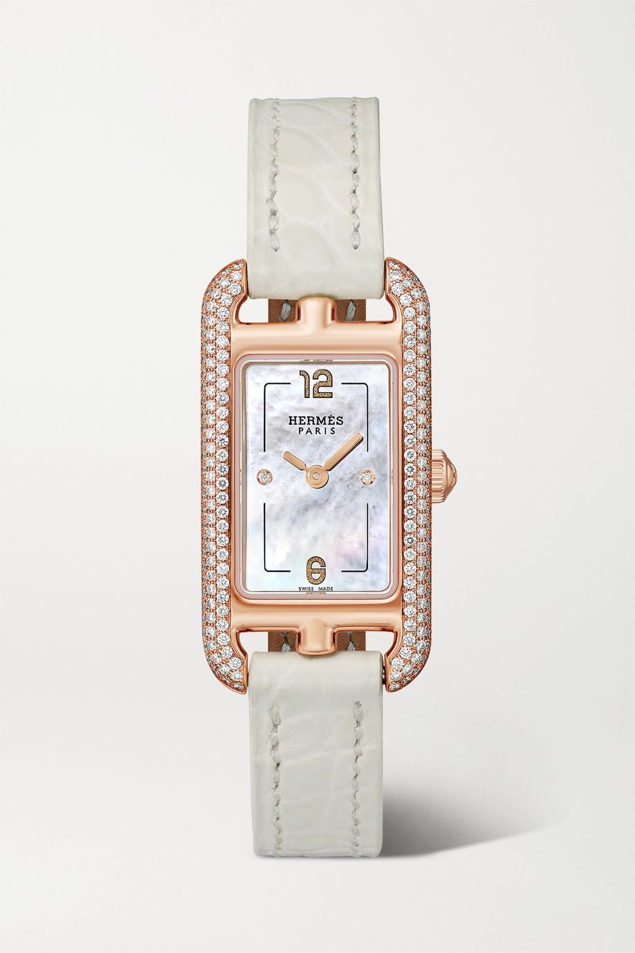 Hermès Timepieces Nantucket 17mm very small 18-karat rose gold, alligator, mother-of-pearl and diamond watch