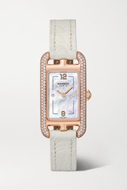 Nantucket 17mm very small 18-karat rose-gold, alligator, mother-of-pearl and diamond watch