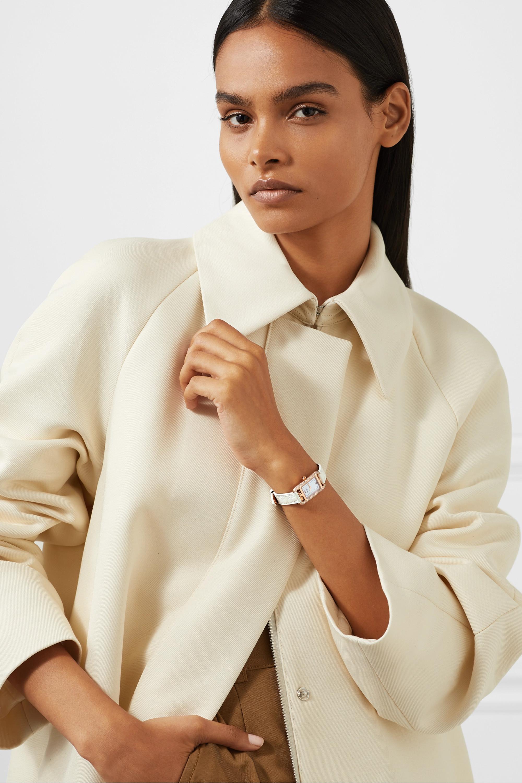 Hermès Timepieces Nantucket 17 mm sehr kleine Uhr aus Roségold mit Perlmutt, Diamanten und Alligatorlederarmband