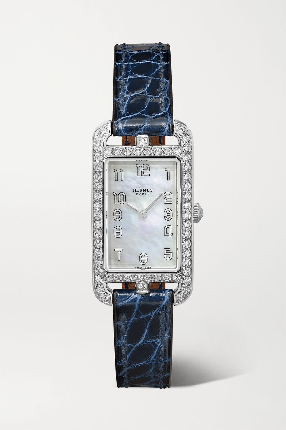 Hermès Timepieces Nantucket 20mm small stainless steel, alligator, mother-of-pearl and diamond watch