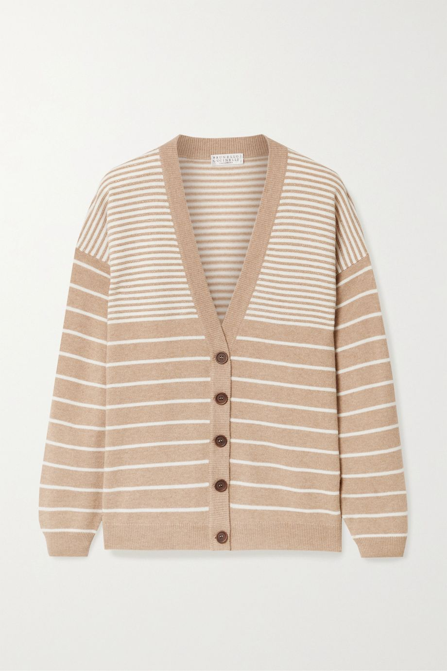 Brunello Cucinelli Bead-embellished striped wool-blend cardigan