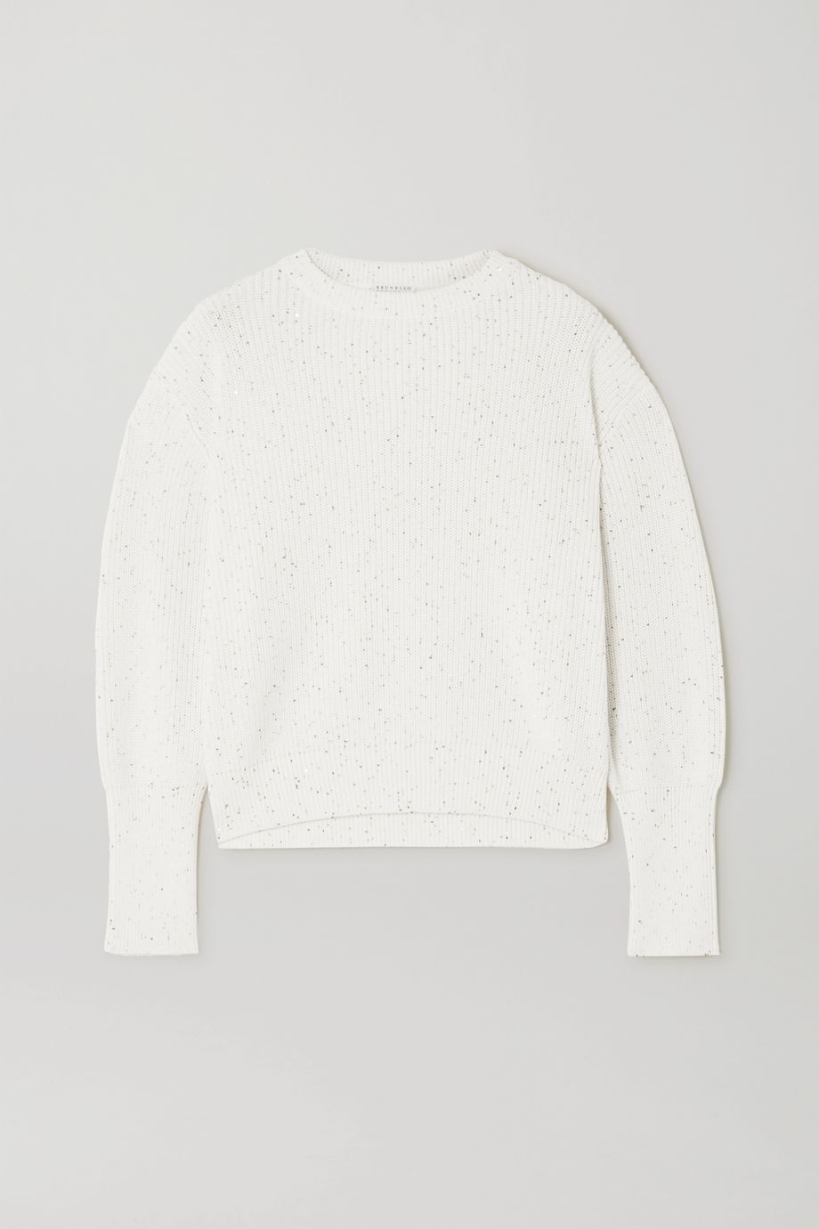 Brunello Cucinelli Sequin-embellished ribbed cotton and silk-blend sweater