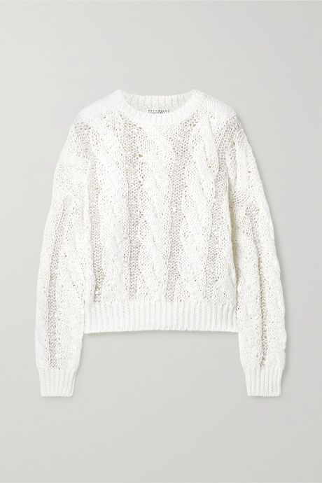 White Sequin-embellished cable-knit sweater | Brunello Cucinelli SuqxER