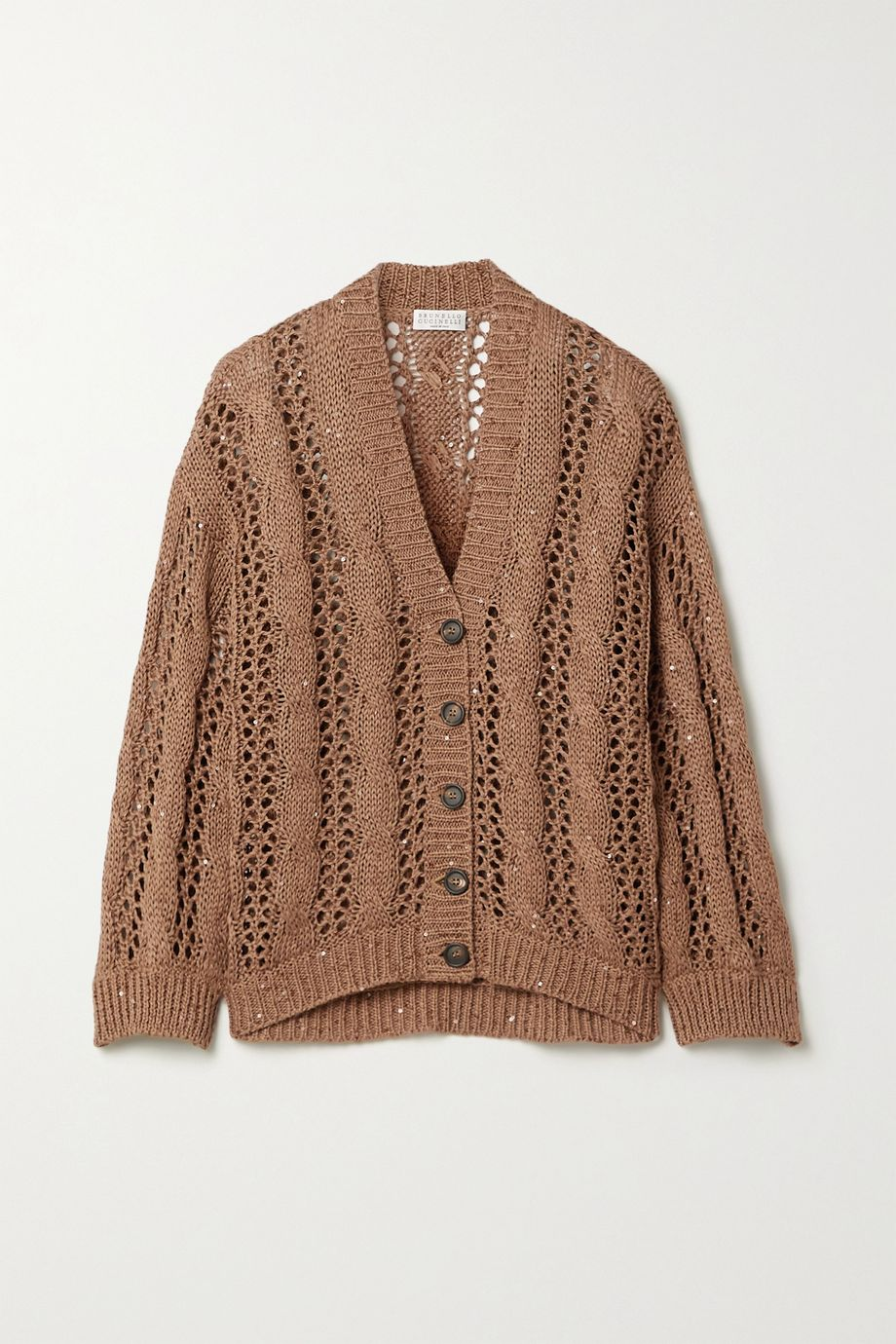 Brunello Cucinelli Sequin-embellished cable-knit cotton-blend cardigan