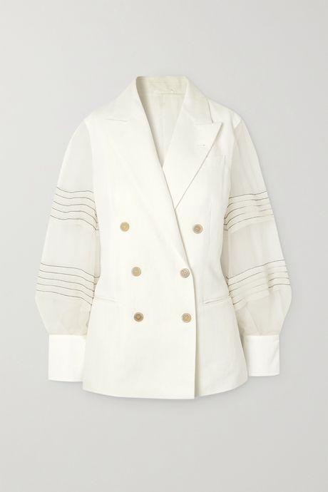 Ivory Bead-embellished silk organza-trimmed linen and cotton-blend blazer | Brunello Cucinelli Kr4hv1