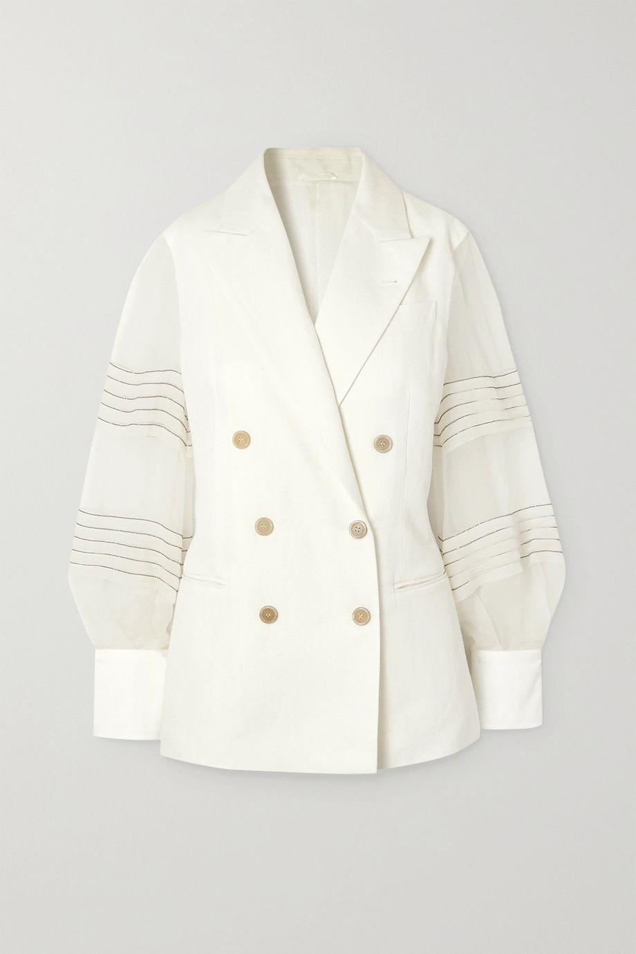 Brunello Cucinelli Bead-embellished silk organza-trimmed linen and cotton-blend blazer