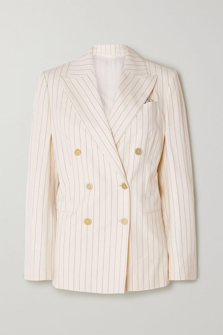 Brunello Cucinelli Doppelreihiger Blazer aus Popeline aus einer Baumwollmischung mit Nadelstreifen