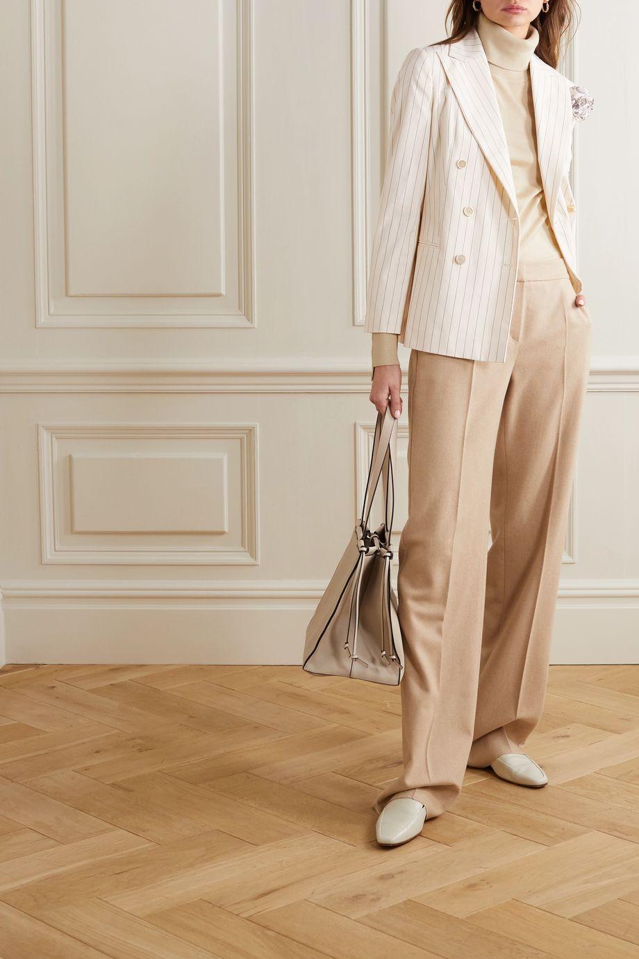 Brunello Cucinelli Double-breasted pinstriped cotton-blend poplin blazer