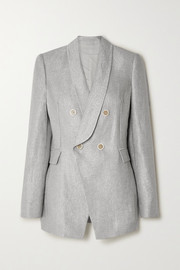 Brunello Cucinelli Double-breasted metallic linen-blend blazer