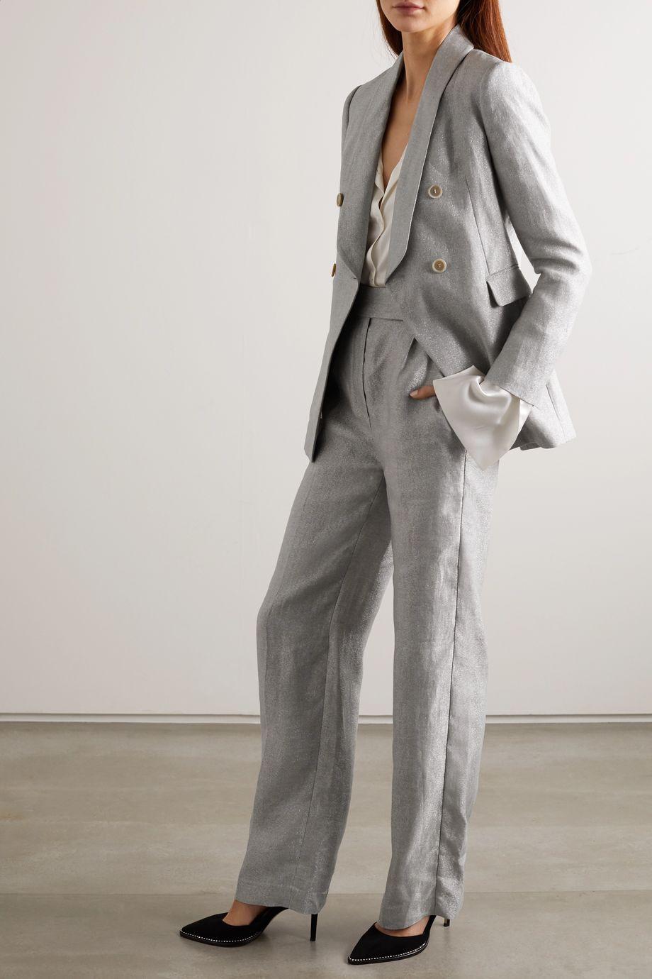 Brunello Cucinelli Double-breasted metallic linen-blend blazer