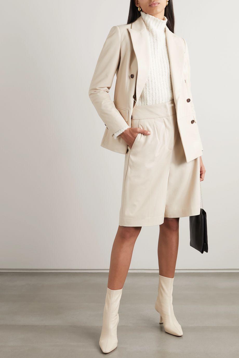 Brunello Cucinelli Double-breasted leather blazer