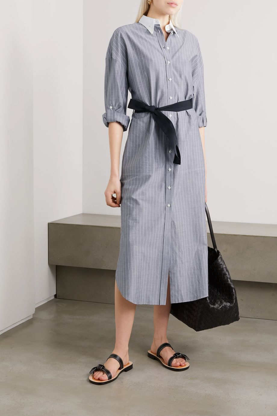 Brunello Cucinelli Belted pinstriped cotton-poplin midi dress