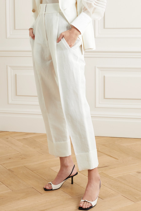 Pleated linen and cotton-blend tapered pants