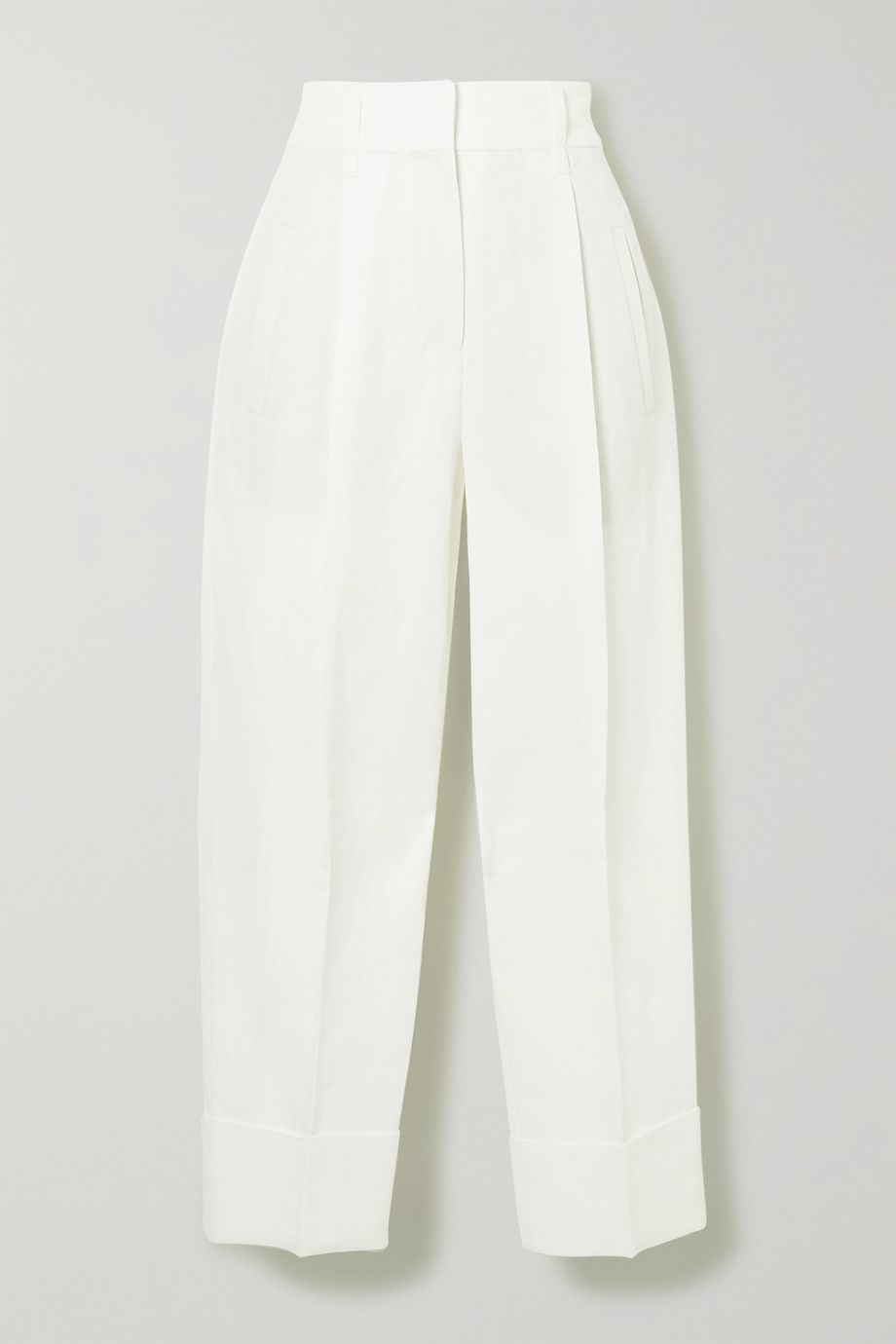 Brunello Cucinelli Pleated linen and cotton-blend tapered pants