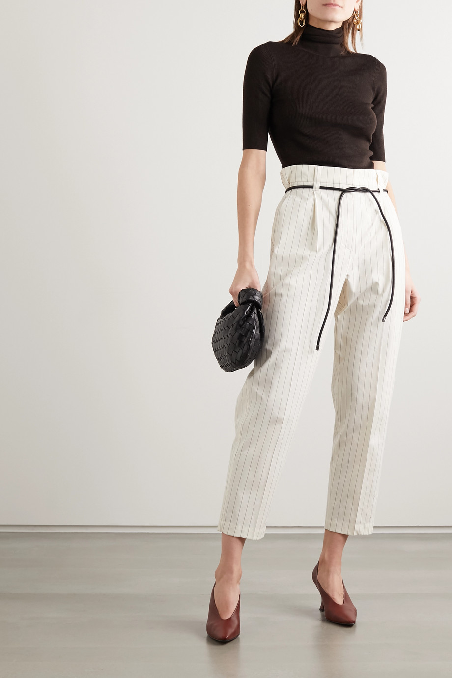 Brunello Cucinelli Cropped belted pinstriped cotton-blend straight-leg pants