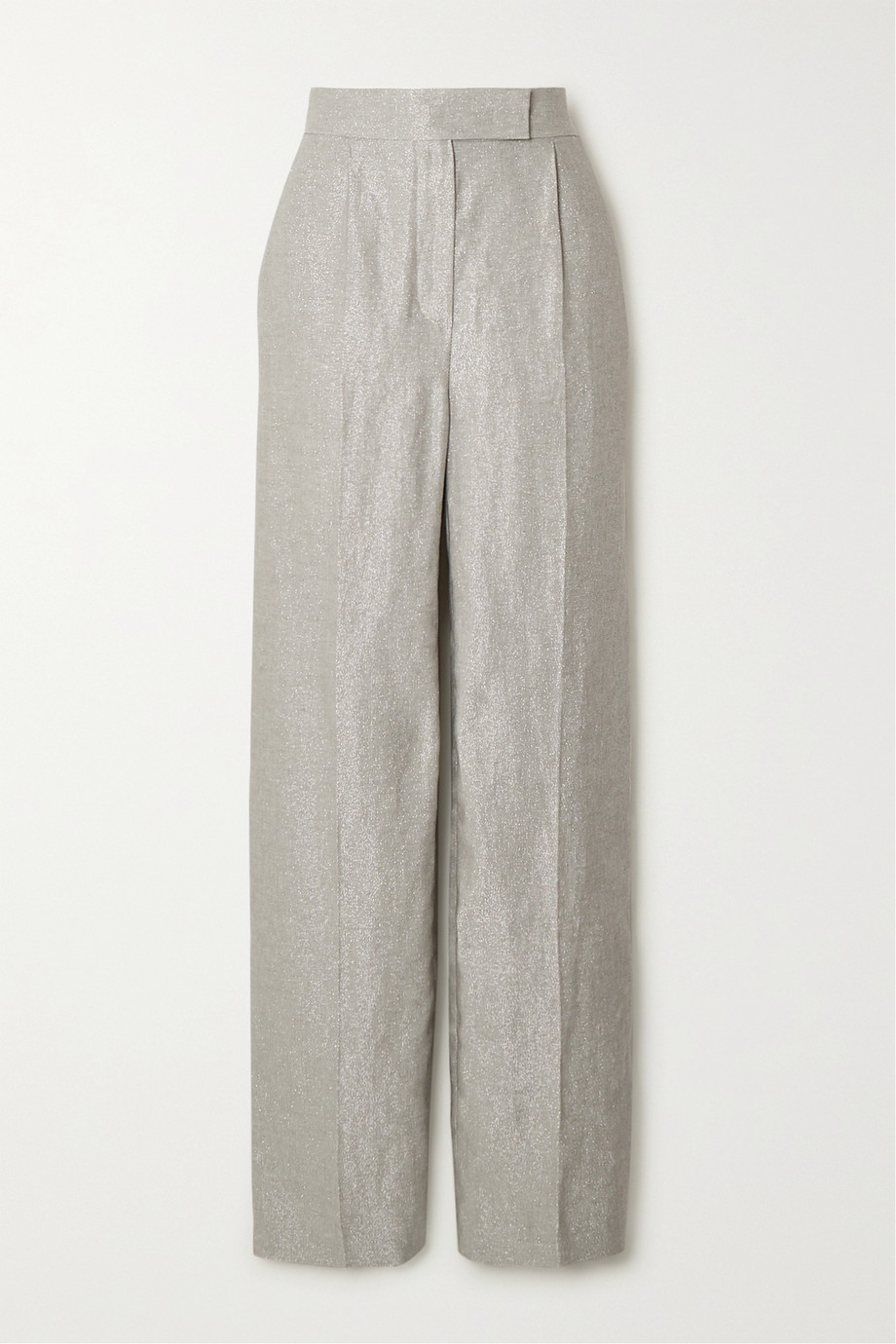 Brunello Cucinelli Metallic linen-blend straight-leg pants