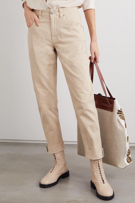 Bead-embellished mid-rise straight-leg jeans
