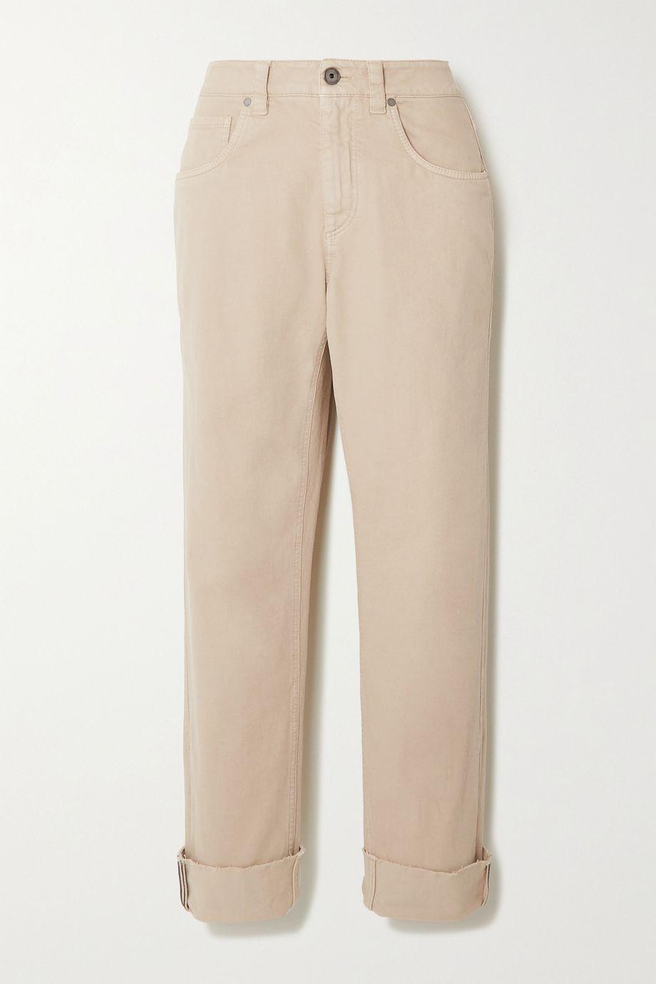 Brunello Cucinelli Halbhohe Jeans mit geradem Bein und Zierperlen