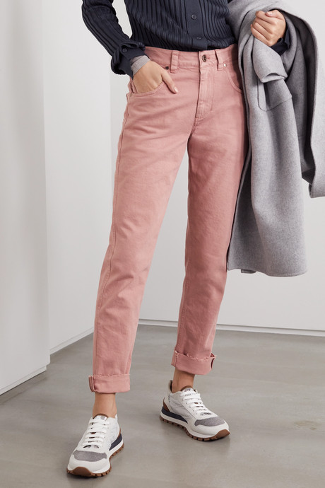 Bead-embellished high-rise straight-leg jeans