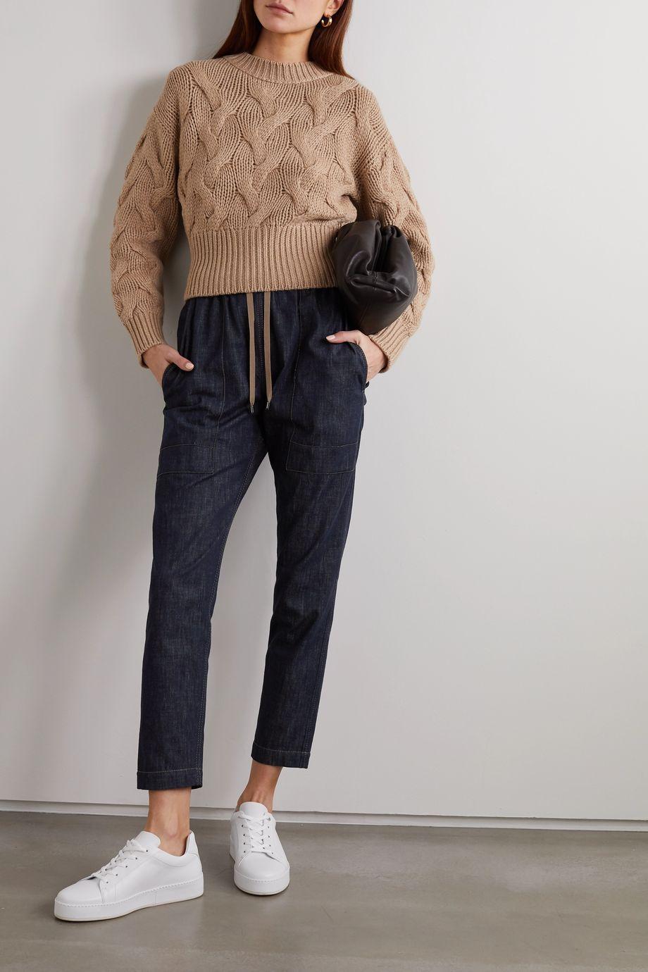 Brunello Cucinelli Bead-embellished denim tapered track pants