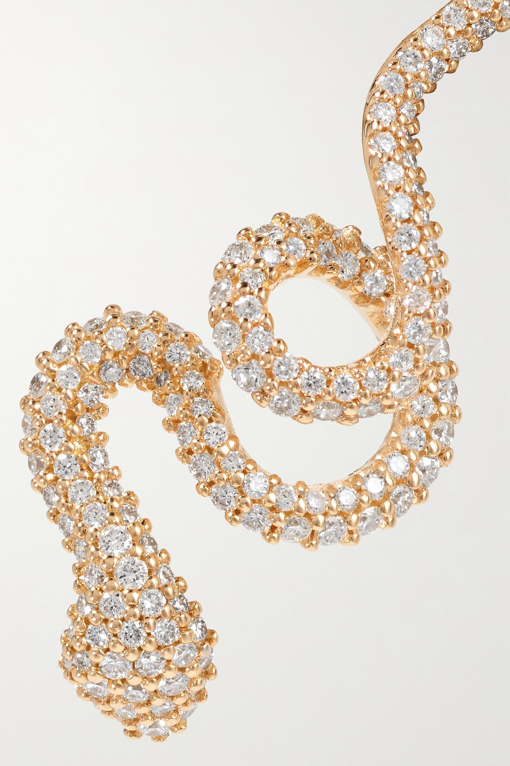 OLE LYNGGAARD COPENHAGEN Boucle d'oreille unique en or 18 carats (750/1000) et diamants Snake