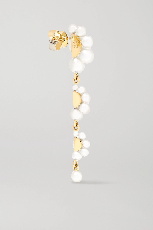Sophie Bille Brahe Notte Grande 14-karat gold pearl earrings