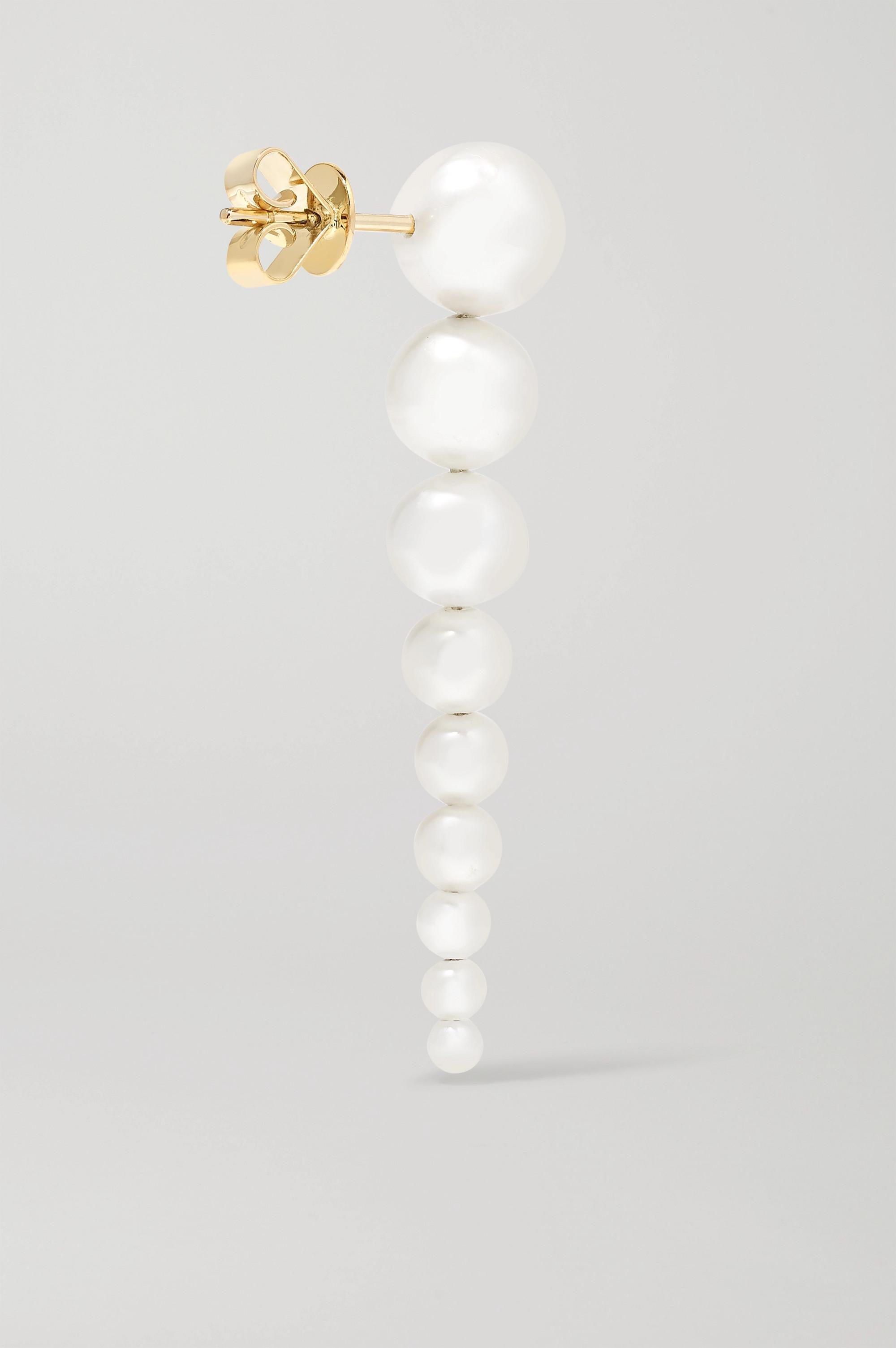 Sophie Bille Brahe Sienna 14-karat gold pearl earrings