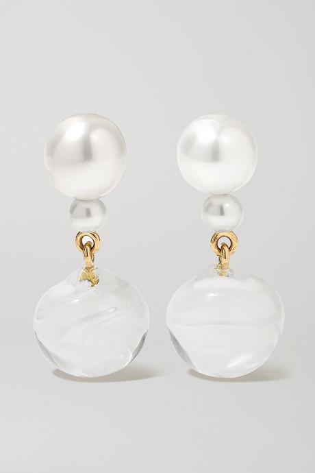 Gold Giudecca Verre 14-karat gold, pearl and glass earrings  | Sophie Bille Brahe APETNa