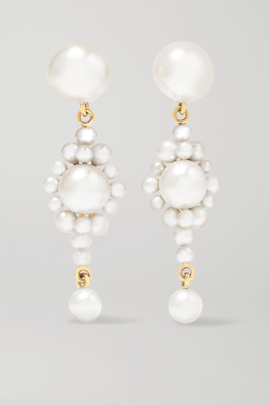 Sophie Bille Brahe Venezia 14-karat gold pearl earrings