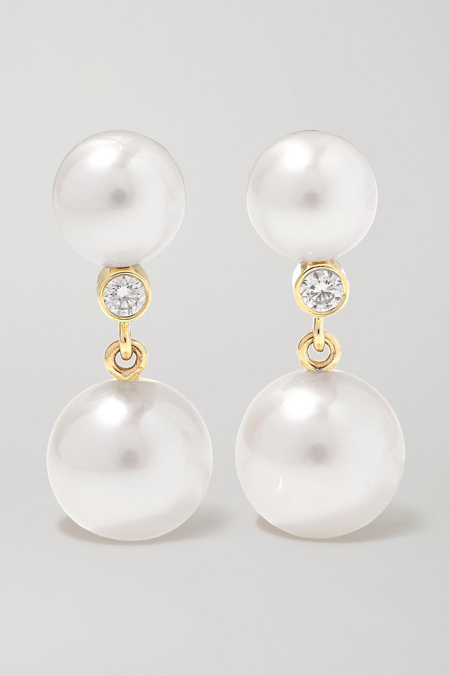 Sophie Bille Brahe Giudecca Diamant 14-karat gold, pearl and diamond earrings