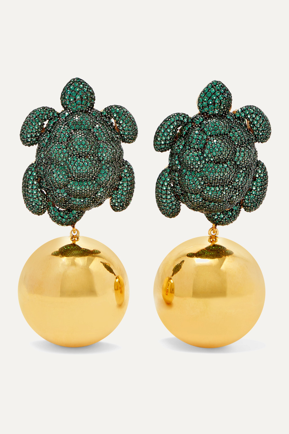 Begüm Khan Caretta gold-plated cubic zirconia clip earrings