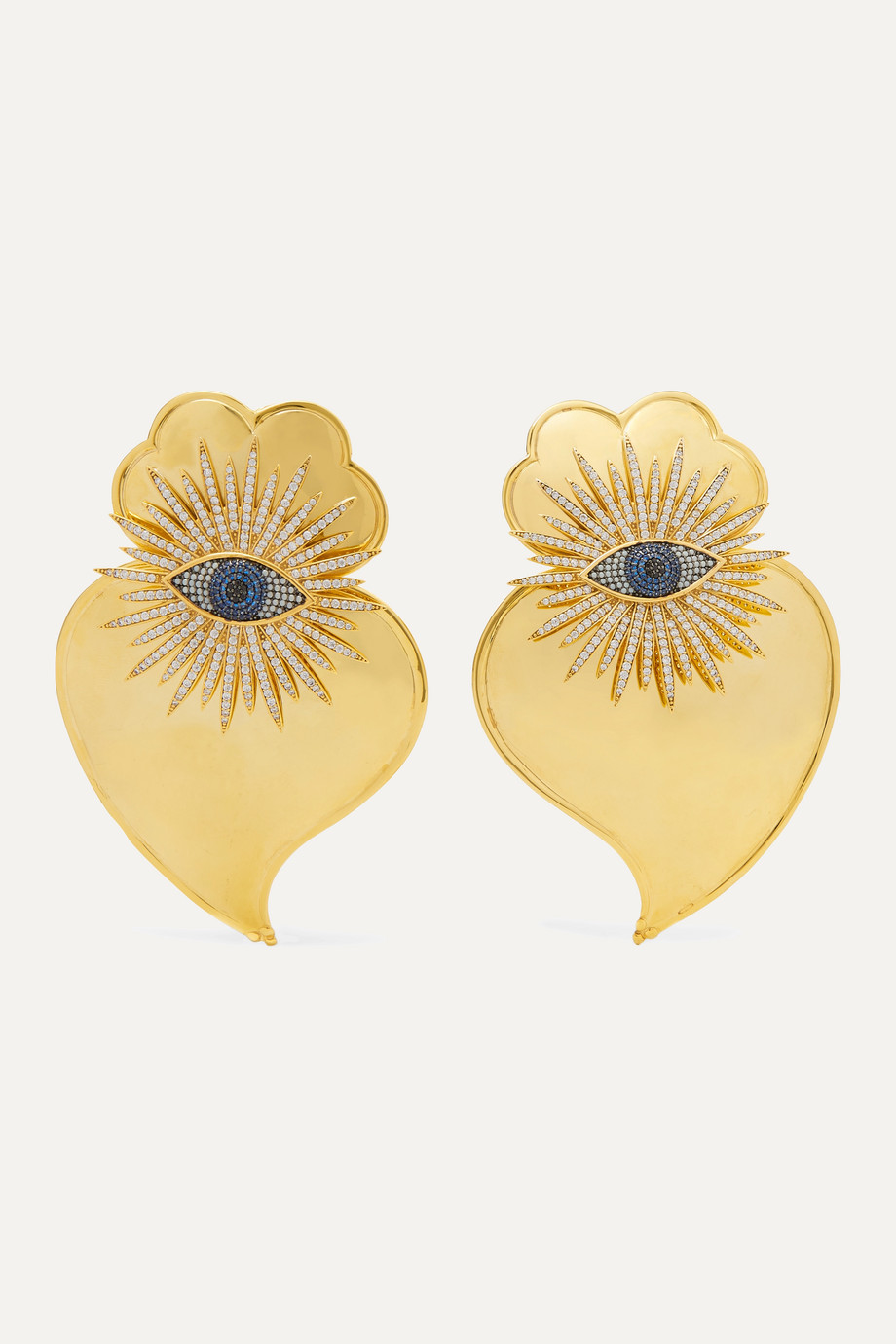 Begüm Khan Evil Eye Cuore Sacro gold-plated crystal clip earrings