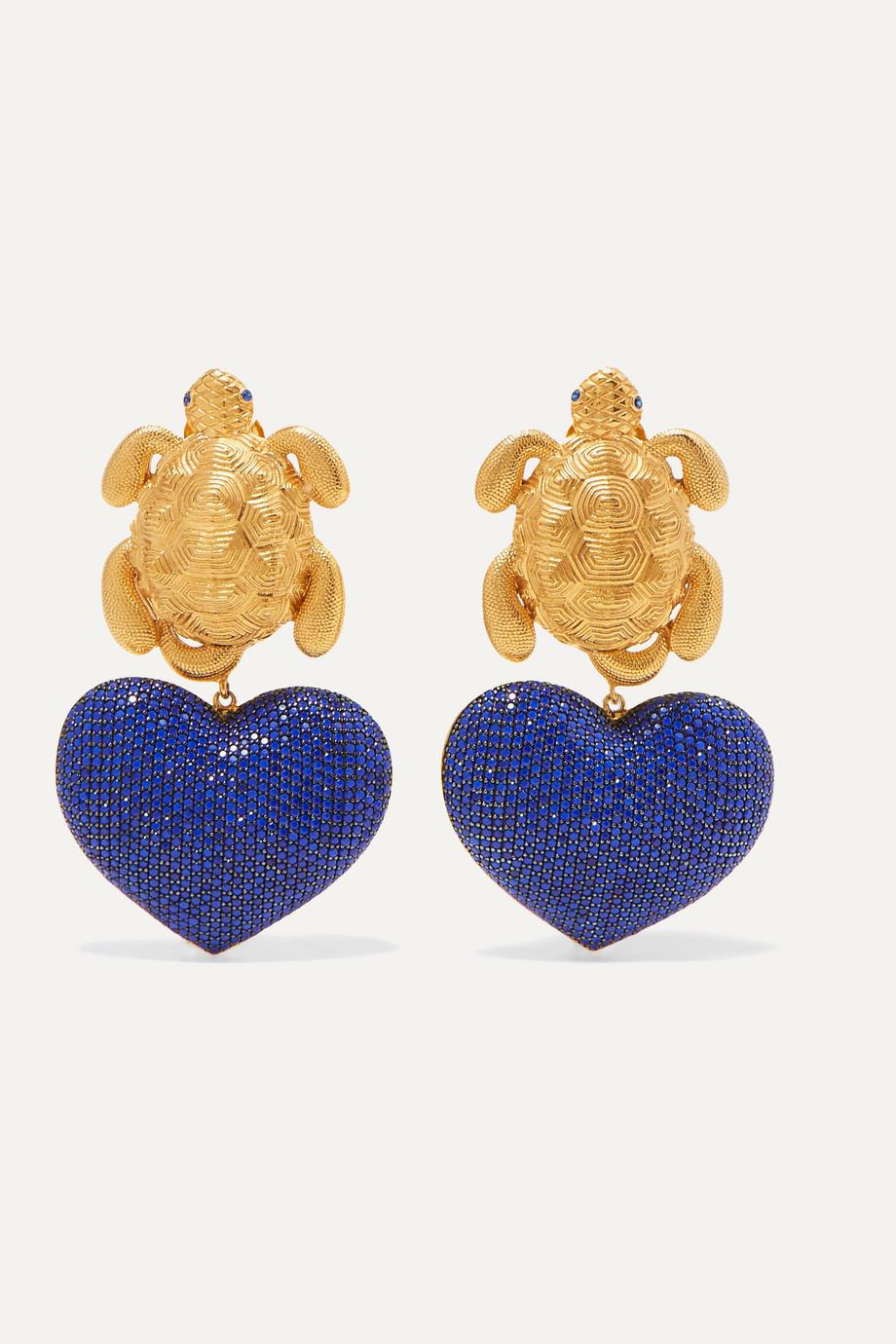 Begüm Khan Turtle in Love gold-plated lapis lazuli clip earrings