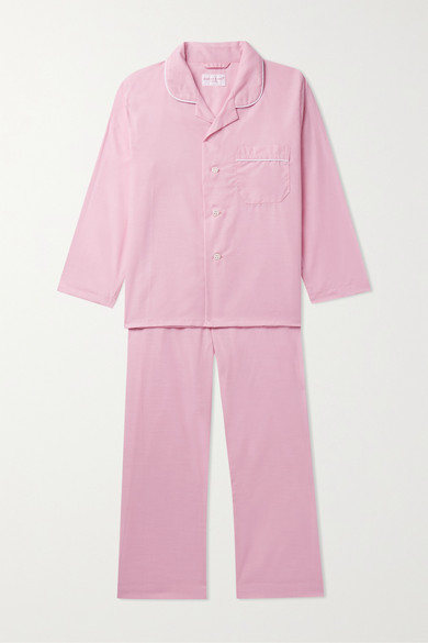 Derek Rose Kids - Ages 3 - 12 Piped Cotton Pajama Set
