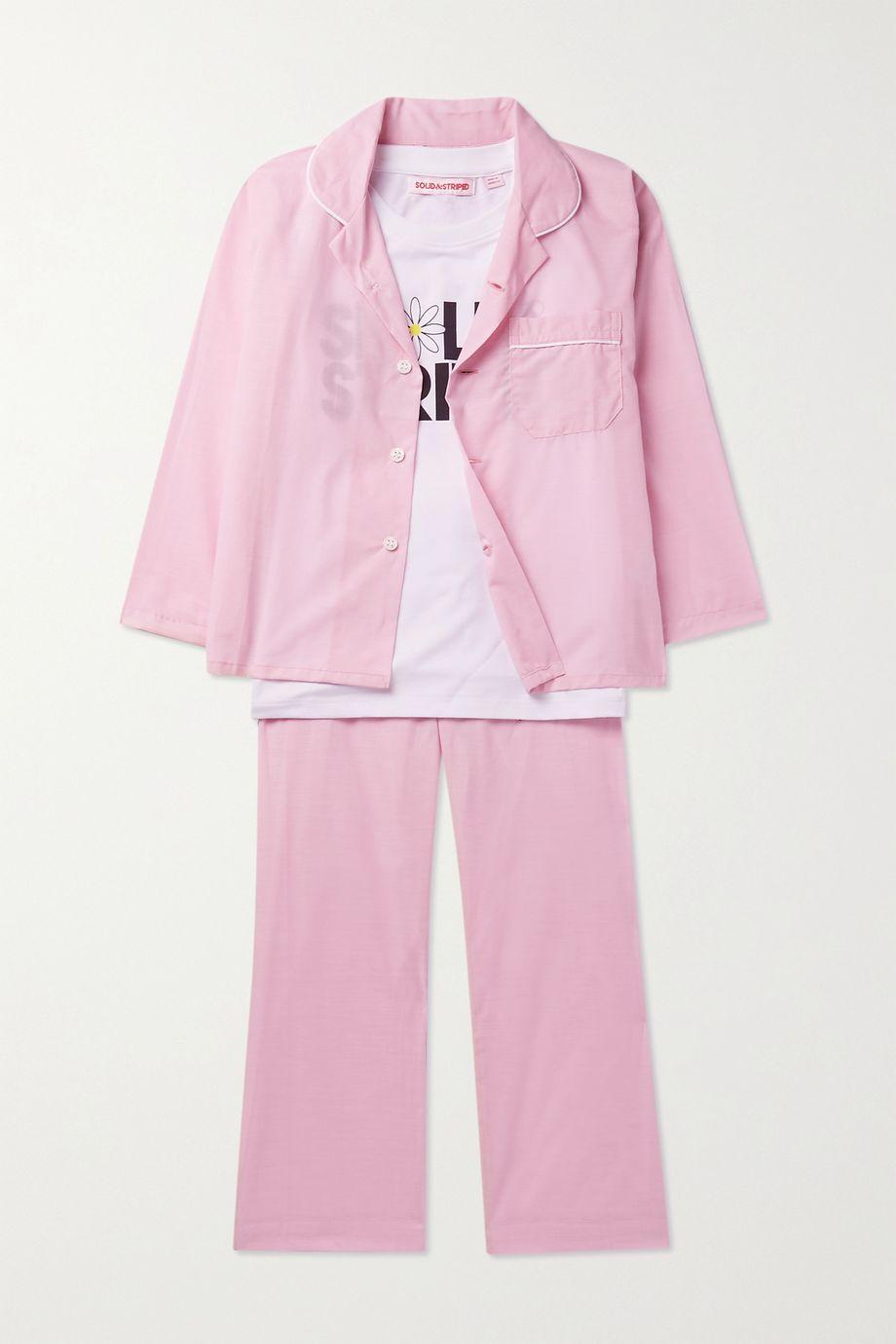 Derek Rose Kids Ages 3 - 12 piped cotton pajama set