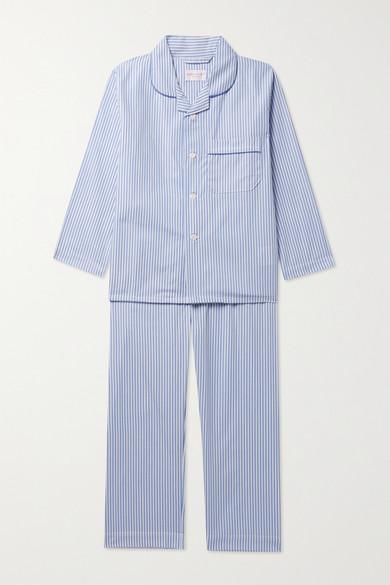 Derek Rose Kids - Ages 3 - 12 Piped Striped Cotton Pajama Set