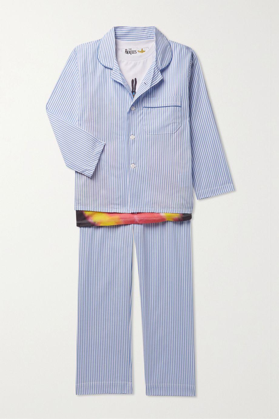 Derek Rose Kids Ages 3 - 12 piped striped cotton pajama set