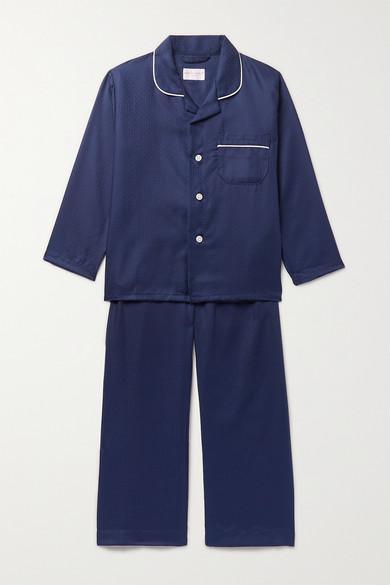 Derek Rose Kids - Ages 3 - 12 Piped Cotton-jacquard Pajama Set