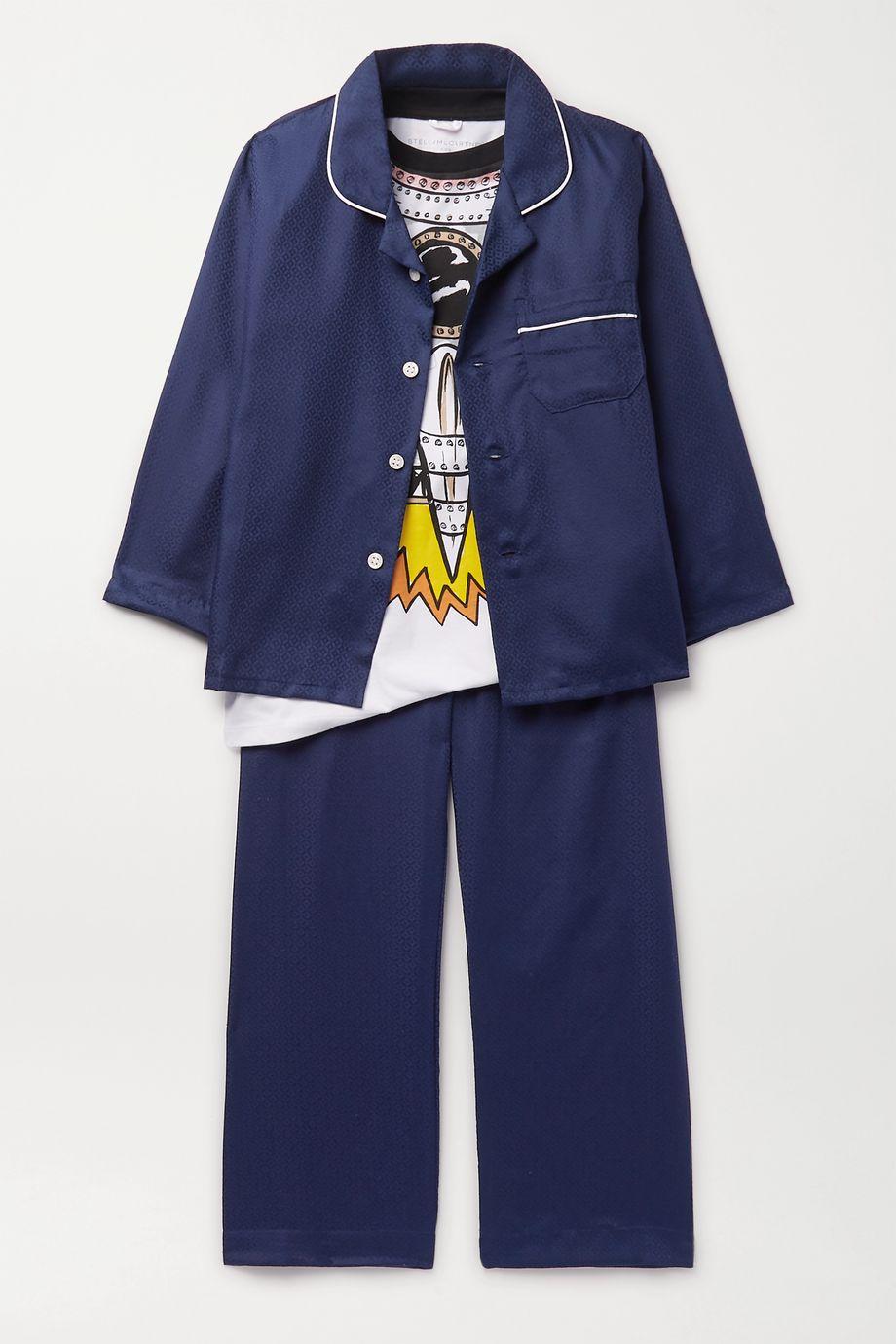 Derek Rose Kids Ages 3 - 12 piped cotton-jacquard pajama set